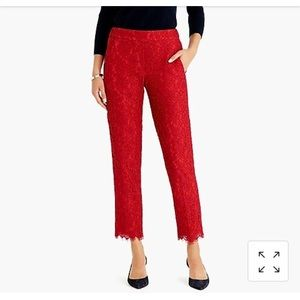 J. Crew Easy Pant in Red Lace